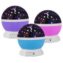 Baby Night Lights, Starry Night Light Rotating Moon Stars Projector, 9 Color Options Romantic Night Lighting Lamp