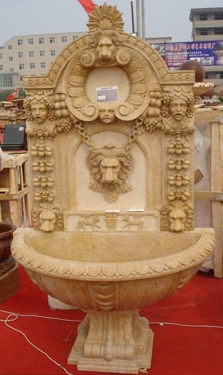 Roman style lion head antique beige marble carving wall fountain