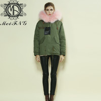 2015 new fashion high quality pink furs warm winter parka japan M001-17