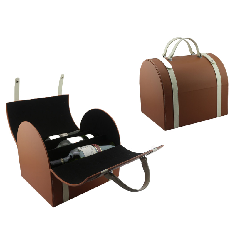 Chinese supply luxurious leather wine gift box with wine tools