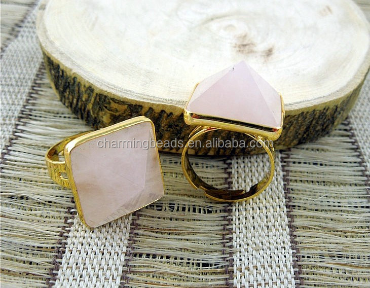 CH-JCR0044 facted square stone rose quartz ring,gemstone fashion ring,gold bezel ring