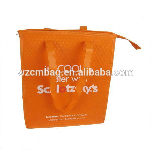 Hot Sale Yellow Thermal Insulated Shopping Cooler Zippper Lunch Bag