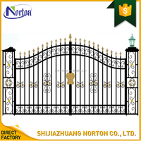 bespoke design galvanised double arch driveway iron gates NT--WIA117