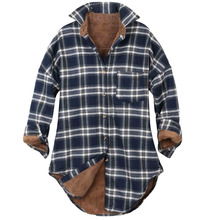Fleece Jacket Men Women Checkered Plaid Sherpa Lined Flannel Long Shirt sherpa fleece fabric Jacket
