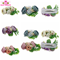 In Stock Hair Pretty Flower Clip Pin Bridal Wedding Prom Party Gift Baby Girls Artificial Flowers And Leaves Hair Clips