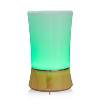 Wood Grain Ultrasonic Cool Mist Whisper-Quiet Humidifier with Color LED Lights Changing Waterless Auto Shut-off for Spa,Home,