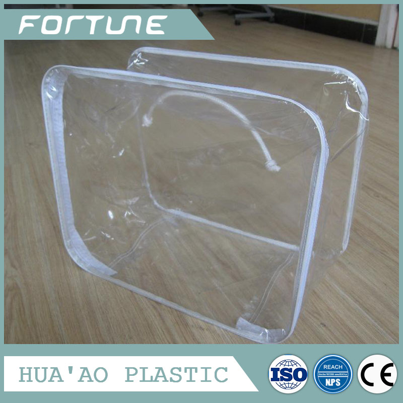 transparent plastic bag for quilt packing with zipper and wire rim around