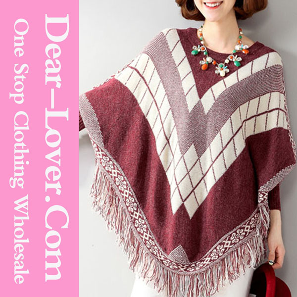 Women Clothes Autumn 2015 Batwing Patterned Mexican Wool Poncho Sweater