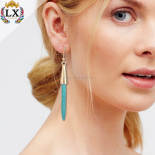 ELX-00033 fashion simple artificial jewellery turquoise single stone earring designs for women