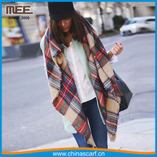 women winter Oversized square checked grey factory plaid tartan blanket scarf