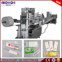 4 panel auto folding paper napkin plastic cutlery flow packing machine