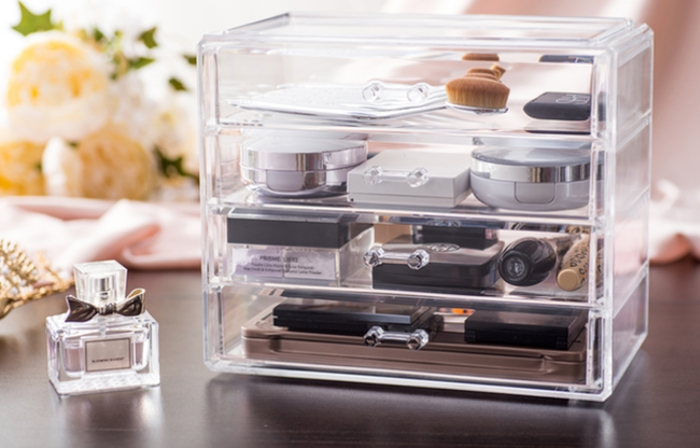 QIAOFENG Custom Top Clear Plastic Home Storage Acrylic Makeup Organizer With Mirror