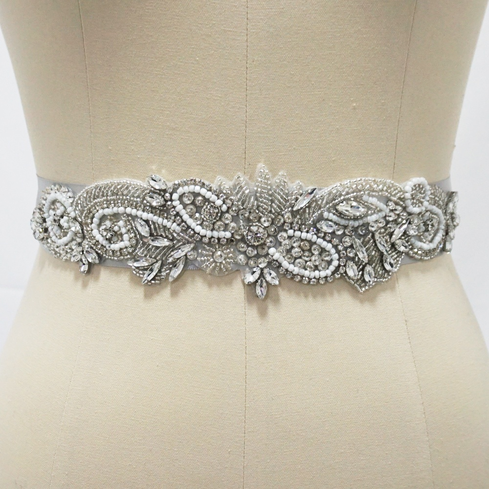 Vintage <strong>Crystal</strong> And Pearls Bridal Belt Handmade Rhinestone Trim For Wedding Dress