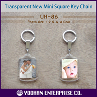 New Mini Square Acrylic Photo Key Chain