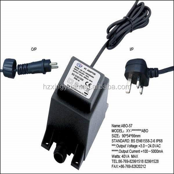 240v ac to 24v ac waterproof transformer outdoor using