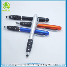 Office promotion item 3 in 1 touch screen stylus pen with led light