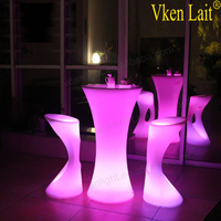 Intelligent outdoor LED furniture UV-resistant Glowing Illuminated Rechargeable interactive led table party LED cocktail table