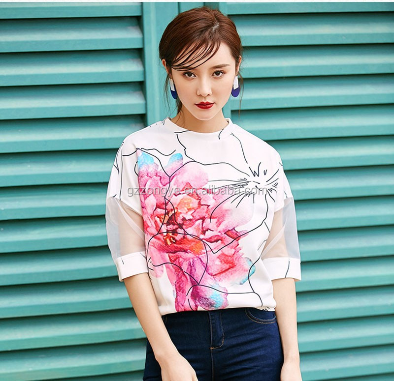 Organza fabric laides flower printed crop tops wholesale