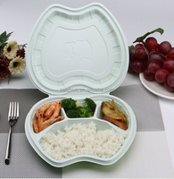 fruit shape collapsibale disposable plastic green bento lunch box with 4 dividers