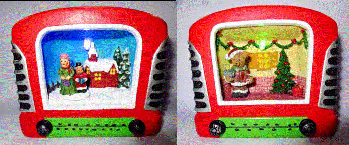 Creative Christmas gift Polyresin village scene in red radio box