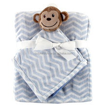 Factory Direct Stuffed Animal Shaped Baby Plush Monkey Security Blanket Set New Design Cute Kids Polar Fleece Blanket