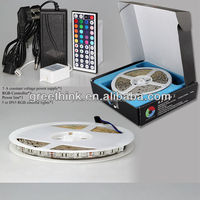 Waterproof 150 Color Changing Smd5050 LED Lighting Strip Kit RGB 16.4ft-with Power +44 Remote Abco Tech Rgb led strip light kit