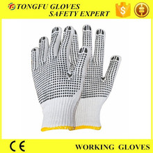 cheap seamless knit cotton gloves with pvc dots/single side dotted working gloves ce