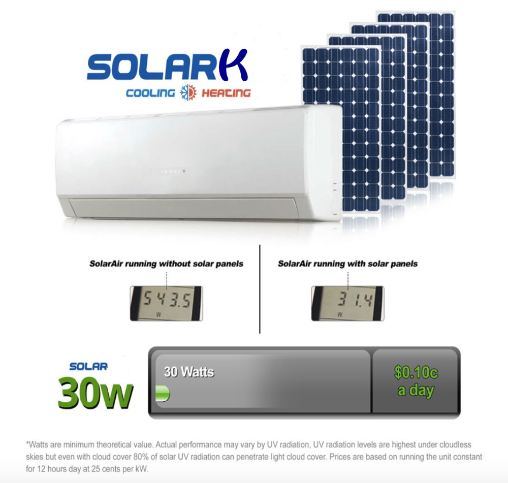 High quality 9000BTU solar hybrid/on grid solar multi split air conditioner solar powered air conditioner price more competitive