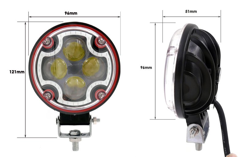 Motorcycle parts 4inch 12W IP67 led motorcycle work lights, 12 volt 4LED Epistar High Intensity LED chip motorcycle led lighting
