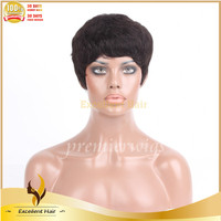 Top quality cheap price #1b indian remy human hair machine made short curl human hair wigs