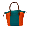 Custom Design Brand name Trendy Polyester Orange Green Handles Purse Tote Hand Bag with Logo