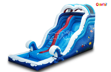 18 Foot Blue Ocean Theme Inflatable Double Drop Slide with Swimming Pool