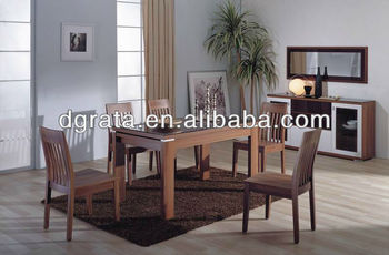 2012 new wooden table and chairs set in solid wood to finish for the house dining room furniture use