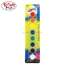 Non-toxic 8 colors tempera paints/water color paints in blister card