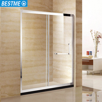 glass folding bath one fixed glass sliding rail shower screens