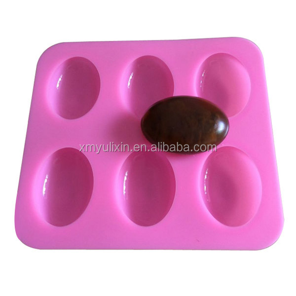 6 oval cavity goose egg shaped soap silicone mold