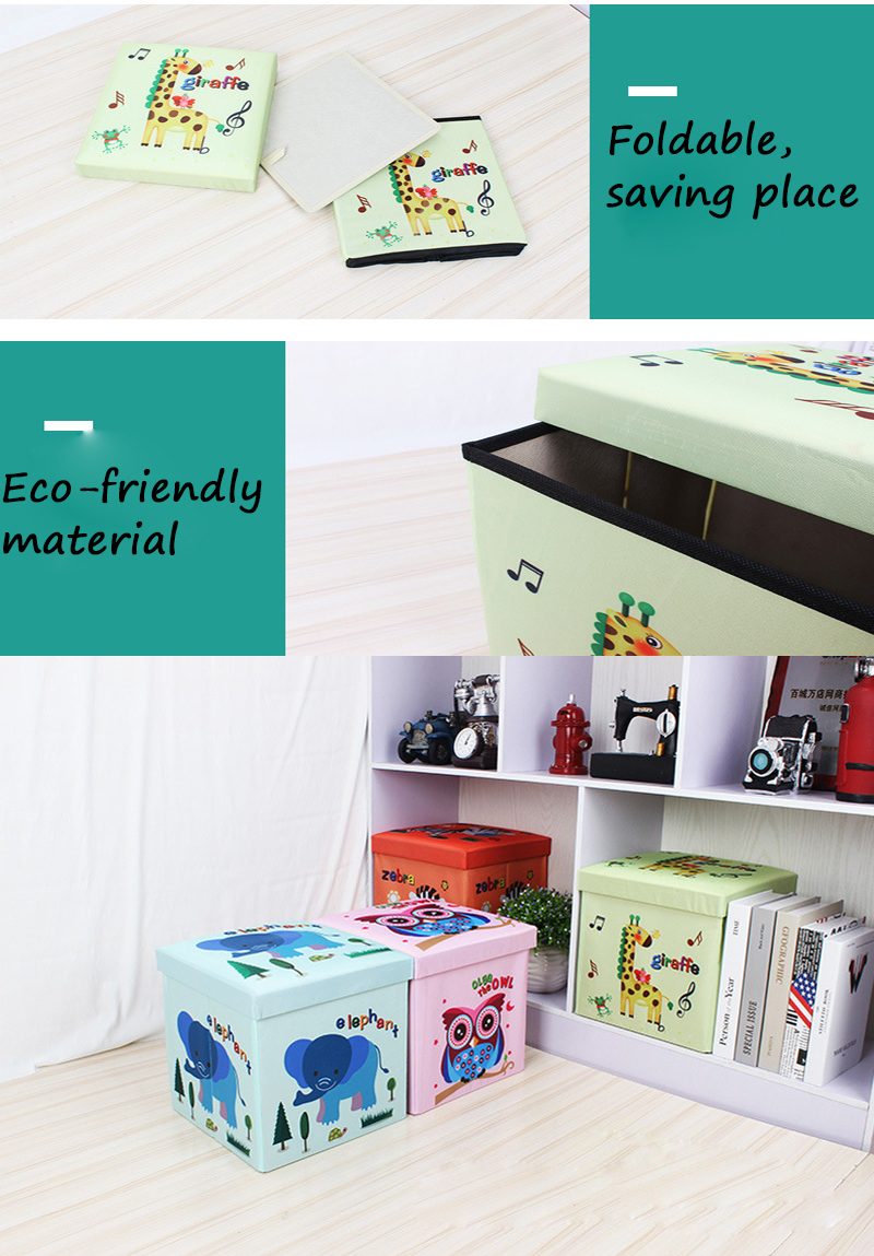 2019 Selling Well Toy Organization  Printed Animals Storage Ottoman Stool