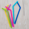 FDA Approved Silicone Straws Reusable Silicone Drinking Straws with Brushes