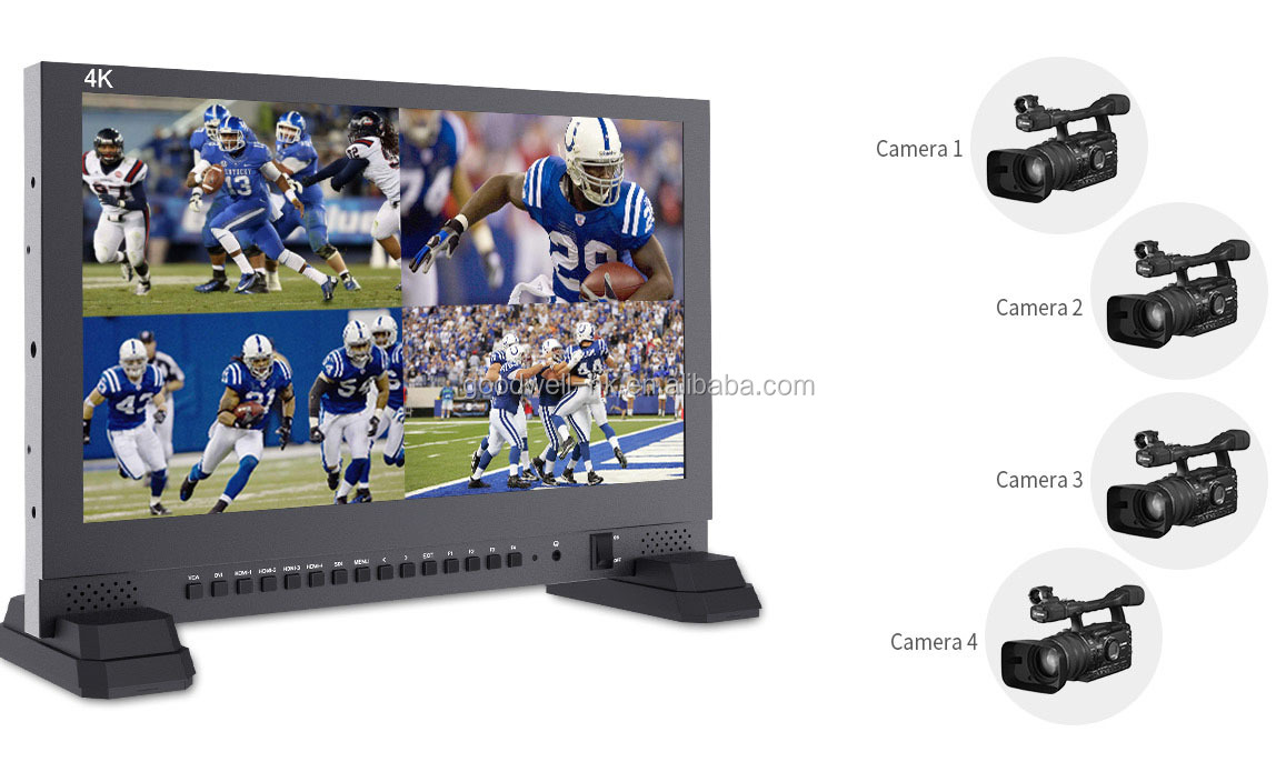 "Live Broadcast 17.3"" 3840X 2160 4K Camera Mount LCD Monitor with 4 x HDMI 3G SDI Quad Split Display for Weddings and Conference"
