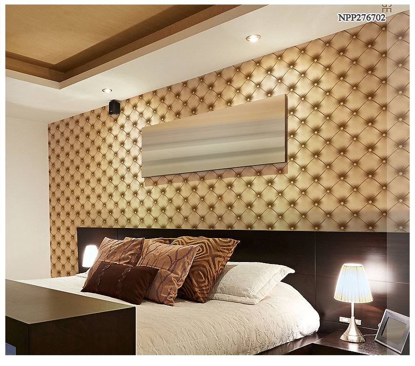 Leather-like design pvc 3d wallpaper for home decoration