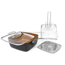 As Seen on TV square copper pan cookware manufacture