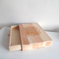 unfinished pine wood drawer gift box slide open