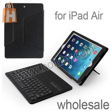 Detachable Ultraslim Magnetic Flip Stand Black Leather Cover ABS Bluetooth v3.0 Keyboard For iPad Air