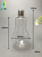 hot selling 400ml juice,coffee,tae,milk tea, beer, beverage cheap PET plastic light bulb shape bottle