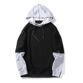 Mens Hip Hop Hoodies Sweatshirt Autumn Oversized Loose Cotton Patchwork Sweatshirt Black Gray High Quality Hodie Streetwear Men