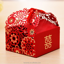 Custom Foiling Laser Cut Indian Wedding Favor Red Folding Paper Candy Box Chocolate Boxes