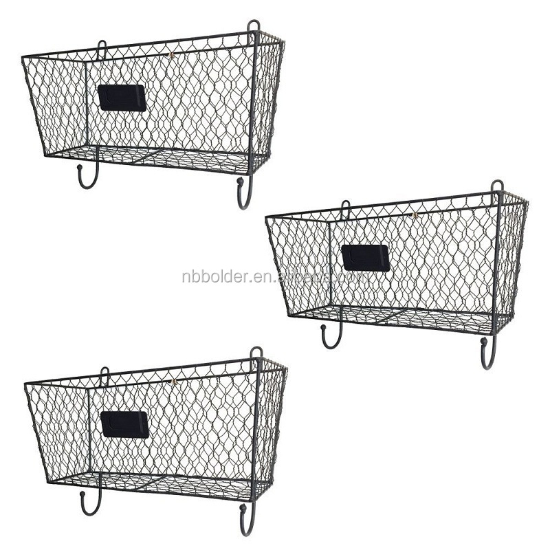 Metal craft factory wall hanging 3 tiers metal wire mesh storage basket for home decor