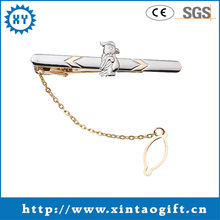 Engraved Personalized security tie clips with silver chain