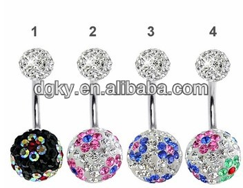 Shamballa ball piercing navel belly ring jewelry