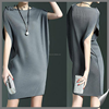 latest Fashion Gray Bateau/boat Neck Ribbed Sleeveless one pieces party wear dresses for girls LB-W095003